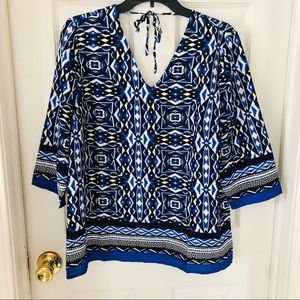 NWT Chicos Blue tribal printed boho blouse size M